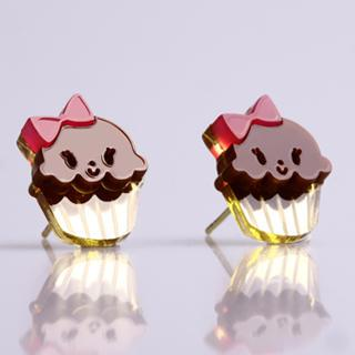 Miss Cupcake Chocolate Stud Gold Earrings