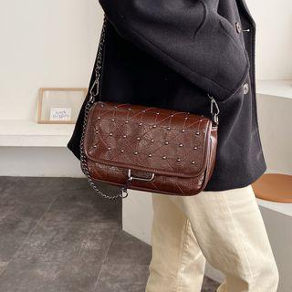 Faux Leather Flap Studded Crossbody Bag