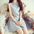 Bow Sleeveless Collared Dress