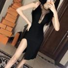Sleeveless Mesh Panel Midi Bodycon Dress