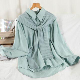 Set: Long-sleeve Shirt + Shawl