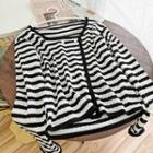 Striped Pointelle Knit Cardigan