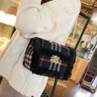 Faux Fur Trim Plaid Crossbody Bag