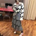 Wavy Striped Sweater / Tiered Midi Skirt