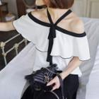 Contrast Trim Bow Accent Off Shoulder Short Sleeve Top