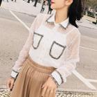 Set: Long-sleeve Lace Panel Blouse + Camisole