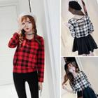 Cross Back Plaid Long-sleeve T-shirt
