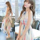 Print Halter Chiffon Dress
