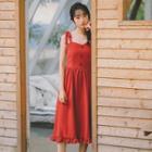 Ruffled Ribbon Accent Sleeveless Dress