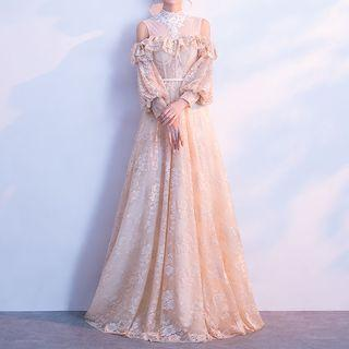 Long-sleeve Lace A-line Evening Gown