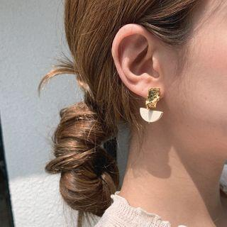Wood Trim Earrings Gold - One Size
