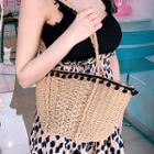 Bobble-trim Straw Tote