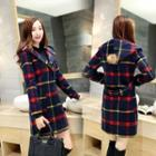 Plaid Buttoned Hooded Coat