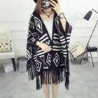 Patterned Fringed Knit Cape
