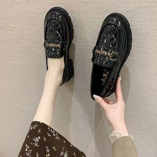 Platform Block Heel Patent Loafers