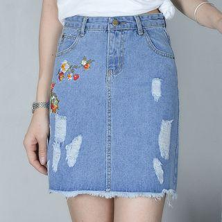 Floral Embroidered Distressed Denim Skirt
