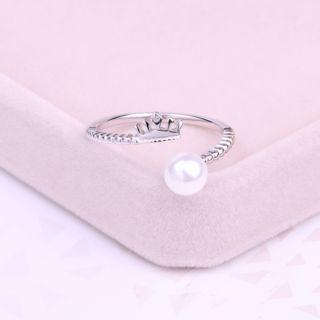 925 Sterling Silver Pearl Crown Open Ring White Faux Pearl - Silver - One Size