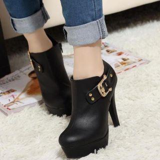 Platform Buckled Ankle Boots