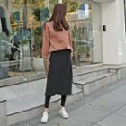 Inset Long Skirt Brushed-fleece Lined Leggings