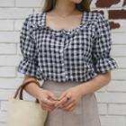 Grill-trim Gingham Blouse