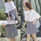 Button Front Checked A-line Skirt