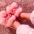Pom-pom Faux-fur Slippers