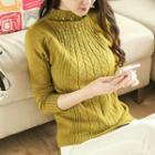 Embellished Mock Neck Sweater