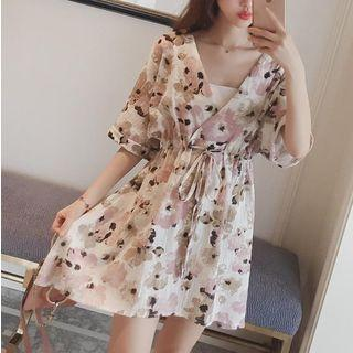 Floral Print Elbow Sleeve A-line Dress