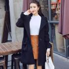 Single-button Hooded Coat