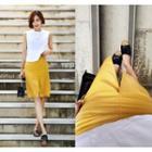 Slit-front Linen Blend Skirt