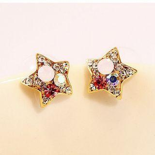 Alloy Rhinestone Star Earring Gold - One Size