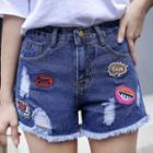 High-waist Applique Denim Shorts