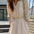 Gathered Long Shirtdress With Sash