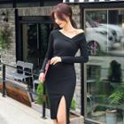 Asymmetric-neck Rib-knit Bodycon Dress
