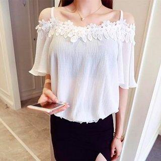 Off-shoulder Lace-trim Top White - One Size
