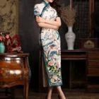 Printed Short-sleeve Maxi Qipao
