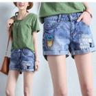 Print Washed Denim Shorts