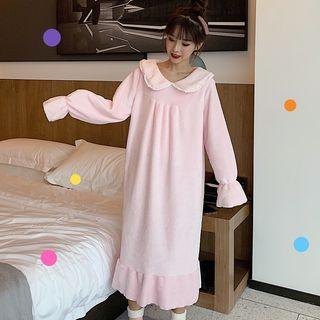 Collared Ruffle Hem Midi Sleep Dress