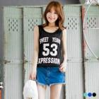 Letter Print Hooded Tank Top