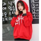 Striped Panel Lettering Hoodie Red - One Size