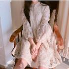 Lace Faux Pearl 3/4 Sleeve Dress