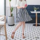 Unsymmetrical Striped A-line Skirt