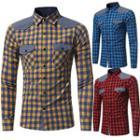 Contrast Trim Plaid Casual Shirt