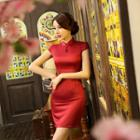Embroidered Short Sleeve Qipao