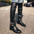Belted-detail Knee-high Boots