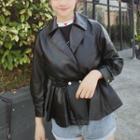 Faux Leather Peplum Jacket