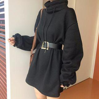 Long-sleeve Mock-neck Mini Sweatshirt Dress