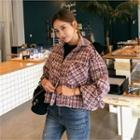 Cropped Buttoned Tweed Jacket