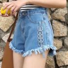 Ring Detail Frayed Denim Shorts