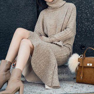 Set: Turtleneck Sweater + Ruffle Hem Midi Skirt